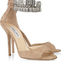 Jimmy Choo vivid crystal-embellished suede sandals - $198.00