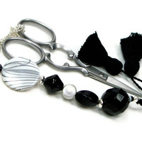 Tuxedo Beaded Scissor Fob, Cross Stitch, Needlepoint, Black, White, DIY Crafts, Gift for Crafter, TJBdesigns