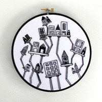 Black and White Hand Embroidery Crooked City 6 inch Embroidery Hoop Art Fiber Art Wall Hanging with Abstract Houses