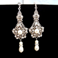 Bridal earrings, wedding jewelry, chandelier earrings, vintage style earrings, antique silver earrings, Swarovski pearl and crystal