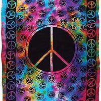 NEW! HUGE 6' x 9' Tie Dye PEACE Sign Tapestry Blanket BedSpread Wall Hanging