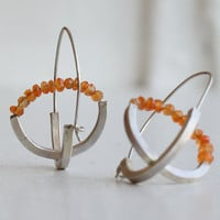 Carnelian and Silver Axis Earrings
