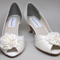 Wedding Shoes -- Ivory Satin Peeptoes with Ivory Satin Satin Adornment