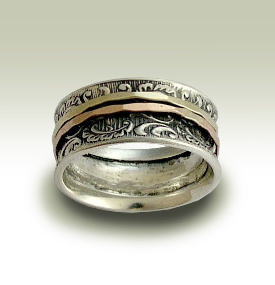 Wedding band  Sterling silver band with filigree by artisanlook