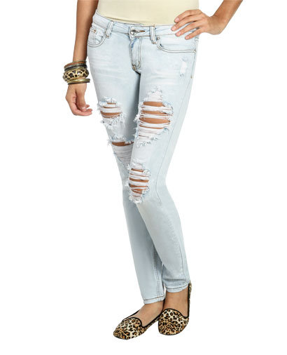 Light Bleach Destroyed Jean | Shop Jeans at Wet Seal