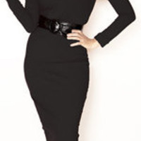 Rockabilly Girl Clothing by Bernie Dexter**Black Stretch Wiggle Lerona Dress - Unique Vintage - Cocktail, Evening & Pinup Dresses