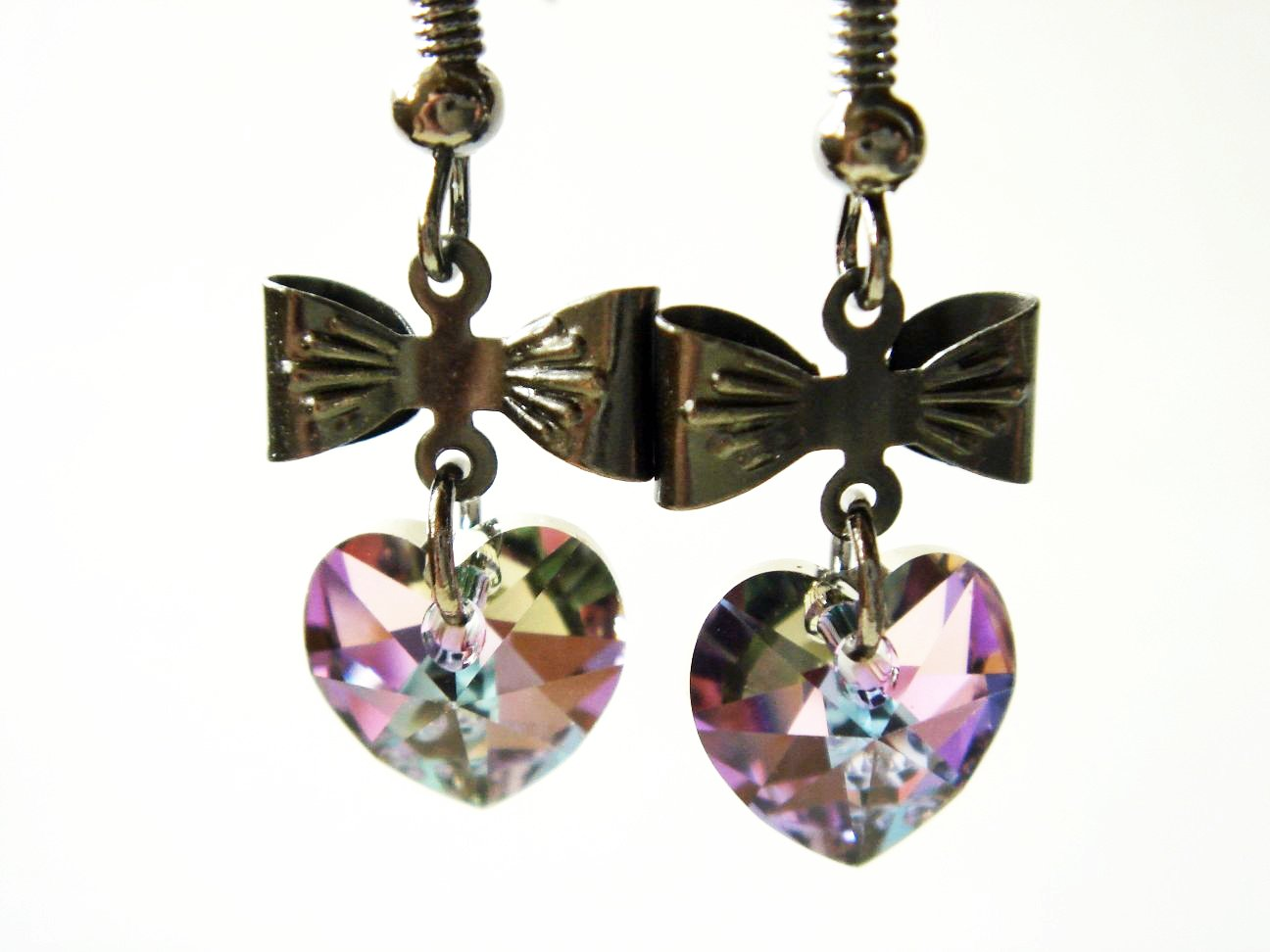 Swarovski Crystal Heart and Bow Earrings by Enchanting Jewels