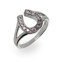 Sterling Silver Cubic Zirconia Lucky Horseshoe Ring Size 9 (Sizes 4 5 6 8 9 Available)