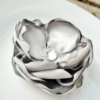 Metallic Silver Bridal Hair Clip, Grey Fabric Flower, Bridesmaids Gift, Winter Wedding, Cool Gray Shantung Platinum