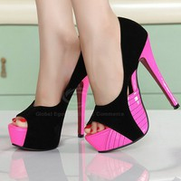Stylish Casual Stiletto Heel Women's Pumps With Peep Toe and Openwork Design