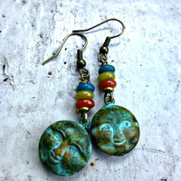 Sunny day. Boho earrings. Moon face, smiley face in Verdigris Patina on brass. With Indonesian glass rondelles, brass spacer beads. Bohemian