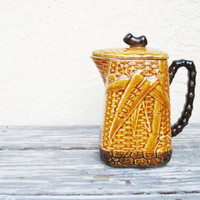 Vintage Majolica-Style Coffee Pot / Basket Weave Pattern Coffee Pot / Ceramic Coffee Pot