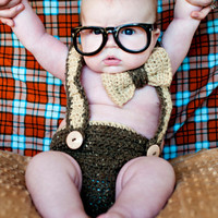 Nerd Baby Suspenders and Bowtie Diaper Cover Crochet PATTERN