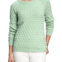 Women&#x27;s Honeycomb-Knit Crew Sweaters | Old Navy