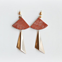 Marble and brass earrings