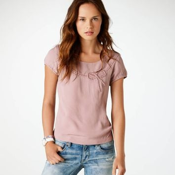 AEO Women's Bow Zip-back Top (Rose)