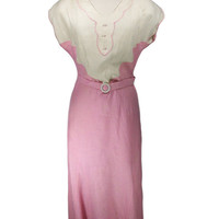 Vintage 1930s Dress / Pink and Light Tan Cotton by FrocknRock