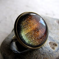 Sky of Fire Glitter Ring Autumn Northern Lights by AshleySpatula
