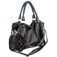 EIDER Black Large Leatherette Gold Chain Decor Sturdy Office Tote Bag Satchel Handbag Purse