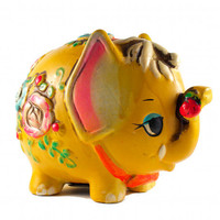 Hippie Elephant Piggy Bank Kitsch Retro Flowers Yellow Chalkware / Vintage 60s
