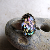Painted Paisley Antiqued Silver Ring by AshleySpatula on Etsy