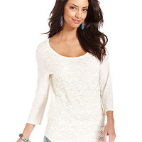 Lucky Brand Jeans Top, Long-Sleeve Scoop-Neck Lace - Womens Tops - Macy's