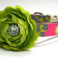 Dog Collar Flower Set: Pink Hibiscus... Made to Order... Custom, Pink, Lime Green, Gray