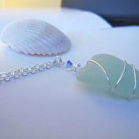 Seafoam blue Sea glass Necklace - Real sea glass with swarovski crystal - Beach Glass Necklace Mermaid Jewlery