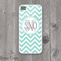 iPhone 5 Hard Case Custom Monogram Chevron Stripe Pattern Mint Phone Case