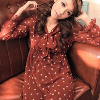 Bowknot Collar Dots Long Sleeve Red Dresses  : Wholesaleclothing4u.com