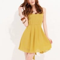 Fresh Girls Yellow Round Neck Brace Dresses  : Wholesaleclothing4u.com