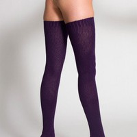 American Apparel Cotton Solid Thigh-High Socks -Imperial Purple