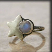 Moon and StarsMoonstone and Oxidized Silver Ring by caroleaxium