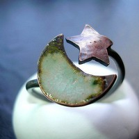Moon and Star Ring Half Wrapped Ring Torch by jewelrybynatsuko