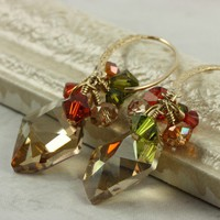 Crystal Cluster Earrings Golden Autumn by AbacusBeadCreations