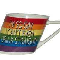 Rainbow I'm So Gay/slant Mug, 14oz
