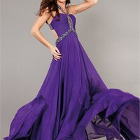 Floor Length Beaded Bodice Open Back Chiffon Prom Dress PD2135