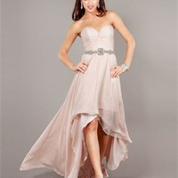 High-Low Sweetheart Ruched Bodice Beaded Chiffon Prom Dress PD2137