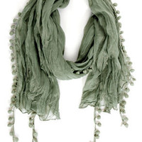 Pom Pom Patch Sage Green Scarf