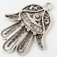 Filigree Hamsa Hand of Fatima Pendant Charm - Silver Plated - 1PC - SP118