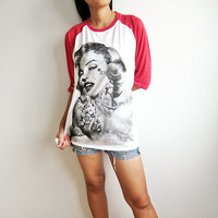 Marilyn Monroe Raglan Shirt American Actress Sex Symbol Basball T Shirts Long Sleeve Size S