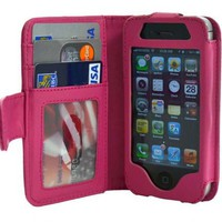 Folio Wallet iPhone 4 iPhone 4S Case for AT&T Verizon & other carriers - Hot Pink - Multifunctional Case - Premium Quality - Inside Surface Is Emerized Scratch Proof to Protect Your IPhone