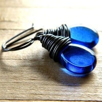Sapphire Blue Earrings, Royal Blue Glass Teardrop Oxidized Sterling Silver Earrings - Marina