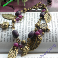 Retro copper flower with 4 leaves purple beads bracelet vintage style