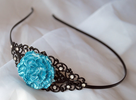 Teal and White flower Headband with Crystal by SRoskillyDesigns