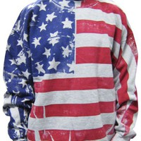 Flag FR1200 - Frank Allover American Flag Crew Neck Sweatshirt