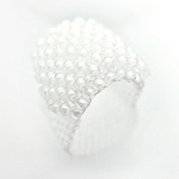 White Ring Beaded Band Textured Snow Layer Gummy by JeannieRichard