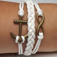Unisex simple fashion ancient bronze 8 Infinite hope and arrow pendant leather braided bracelet--white wax rope braided bracelet