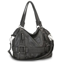 Dark Gray Weave Pattern Belt Accent Double Handle Top Closure Soft Hobo Bowler Satchel Office Tote Shoulder Bag Handbag Purse