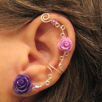 "Non Pierced Ear Cuff  ""Roses are Purple"" Cartilage Conch Cuff Color Choices White Roses are on Back Order"